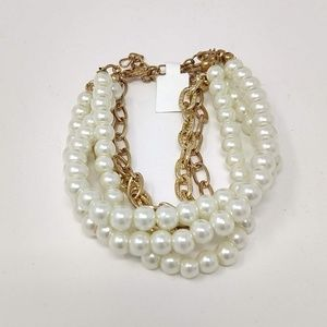 Faux Pearl and Goldtone Chain Bracelet